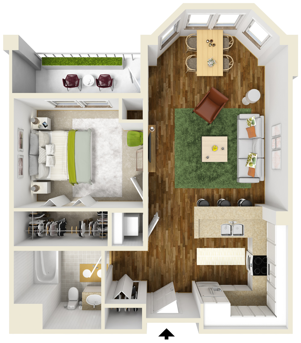 One Bedroom on 2 Bedroom Apartment Floor Plans 3d
