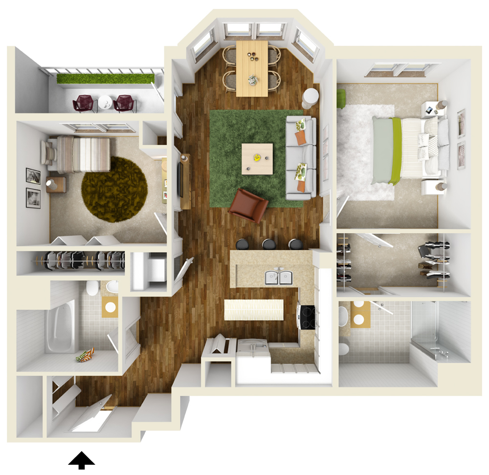 Two bedroom apartment floor plans queset commons for 3d bedroom plan